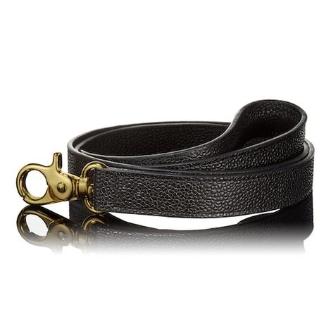 Pebbled Black Leather Dog Lead