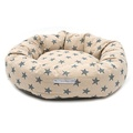 Navy Star Linen Donut Dog Bed
