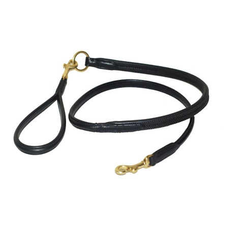 Rubber Grip Leather Dog Lead – Black