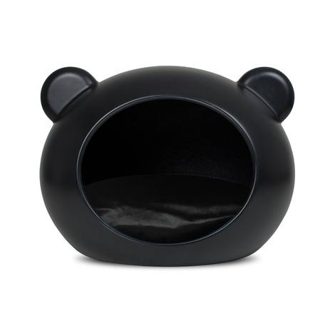 Medium Black Dog Cave with Black Cushion
