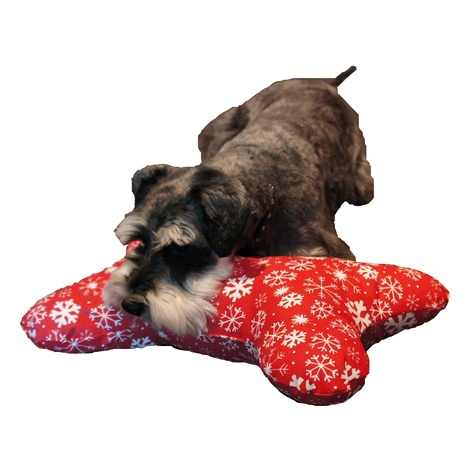 Dog Bone Pillow - Snowy Christmas 2