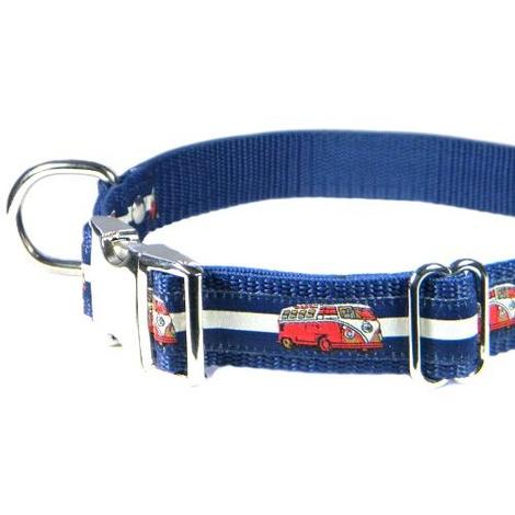 Red VW Camper Van Dog Collar – Navy & White Stripes 3