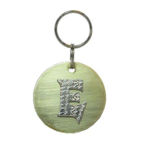 Alphabet Dog ID Tag - Textured silver on plain brass