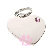 K9 - K9 Rhinestone Heart Dog ID Tag