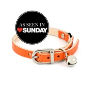 Linny - Orange Leather Cat Collar