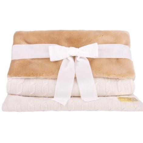 Dog Bed Sleep Sack in White Braided Cashmere