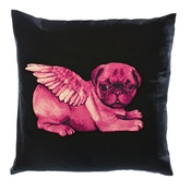 Pugs Might Fly - Biddy Pug Cushion Cover - Black with Neon Pink Pug