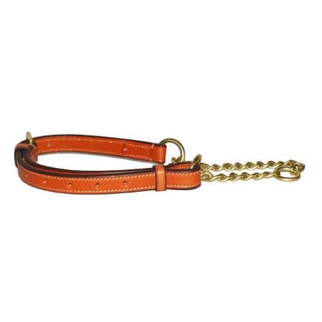 Adjustable Half Choke Chain Leather Dog Collar - Londo