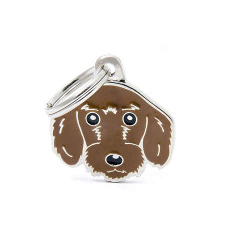 Wire-Haired Dachshund Engraved ID Tag – Brown