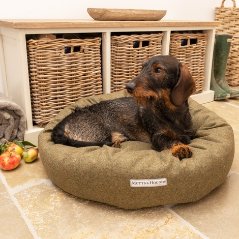 Forest Green Tweed Donut Bed 7