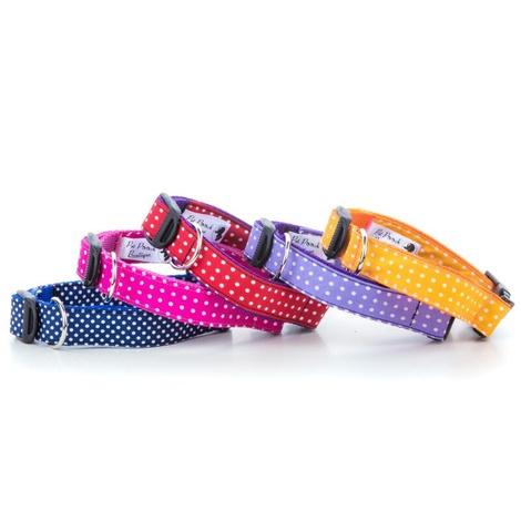 "Polka Dot Dog Collar - Navy Blue  1"" Width 2"