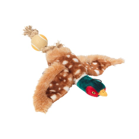 Pheasant Dog Toy with Rope Tail & Tennis Ball