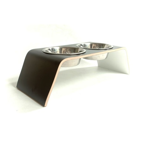 Black & White Raised Dog Bowl Holder