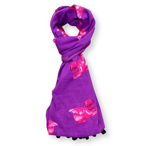 Biddy Pug Scarf - Purple with Neon Pink Pugs