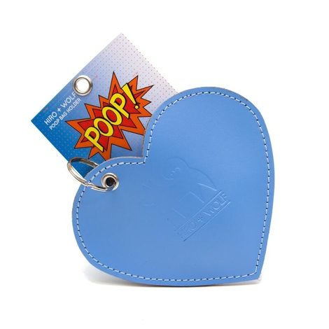 Leather Heart Poo Pouch – Botanical Blue 3