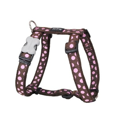 Dog Harness - Pink Spots on Brown