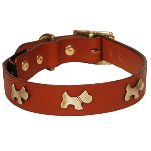 Classic Leather Dog Collar - Tan with Dogs