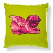 Pugs Might Fly - Biddy Pug Cushion Cover - Green with Neon Pink Pug