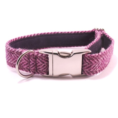Lilac Herringbone Harris Tweed Dog Collar