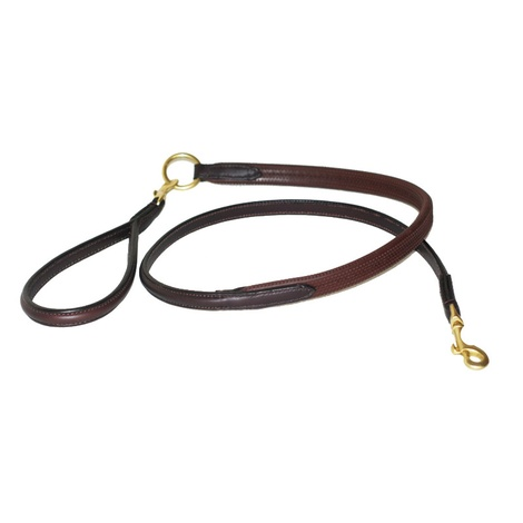 Rubber Grip Leather Dog Lead – Chocolate Brown