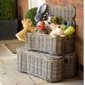 Small Rattan Kubu Dog Basket with Toys