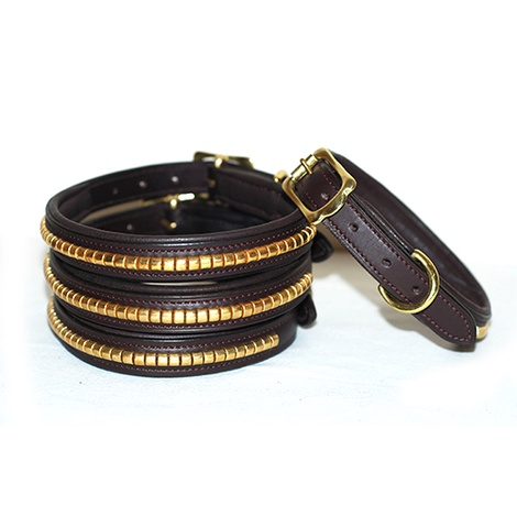 Clincher Leather Dog Collar - Chocolate Brown