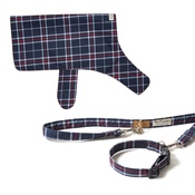 PetsPyjamas - Pawditch Blue Check Dog Collar, Lead & Coat Set