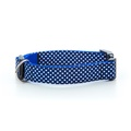 "Polka Dot Dog Collar - Navy Blue  1"" Width"