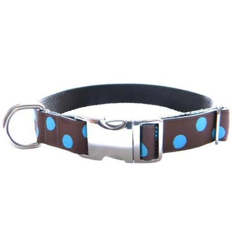 Blue Dots on Chocolate Brown Dog Collar