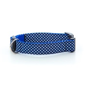 "Pet Pooch Boutique - Polka Dot Dog Collar - Navy Blue  1"" Width"