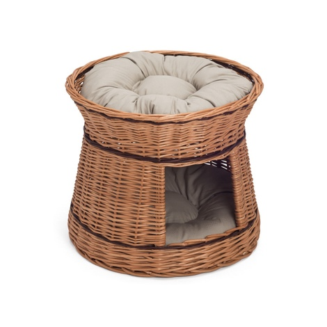 Wicker Two Tier Cat Basket with Cream Cushions