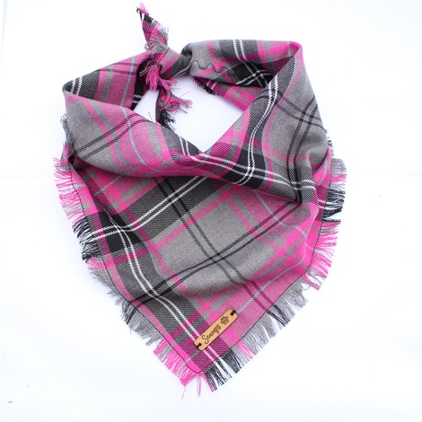 Frayed Buffalo Pink Plaid Dog Bandana