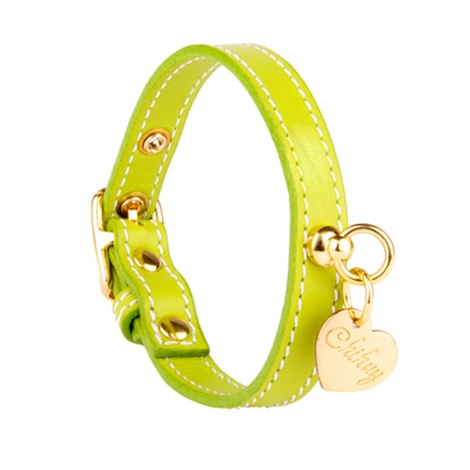 Green and Gold Stitch Leather Collar
