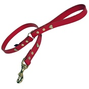 Creature Clothes - Red Brass Hearts Classic Leather Dog Lead
