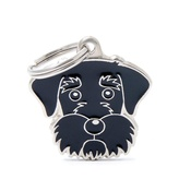 My Family - Schnauzer Engraved ID Tag – Black