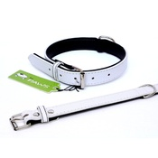 The Paws Pet Supplies - Fusion White Leather Dog Collar