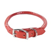 Auburn Leathercrafters - Rolled Leather Dog Collar – Red