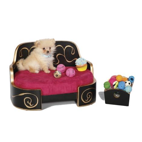Russian Imperial Gold & Magenta Dog Sofa