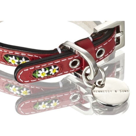 Edelweiss Leather Dog Collar – Swiss Red 2