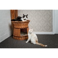 Wicker Two Tier Cat Basket with Cream Cushions 2