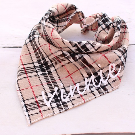 Personalised Barkberry Plaid Dog Bandana