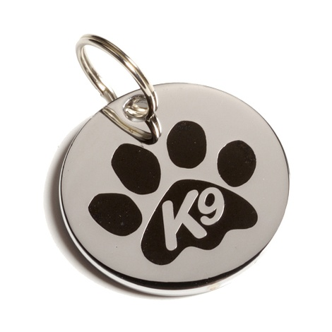 K9 Black Paw Dog ID Tag