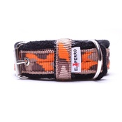El Perro - 2.5cm width Fleece Comfort Dog Collar – Orange Camo