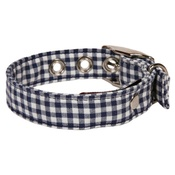 Creature Clothes - Gingham Fabric Dog Collar Blue