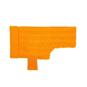 Kora Cable Knit Cashmere Dog Sweater - Tangerine