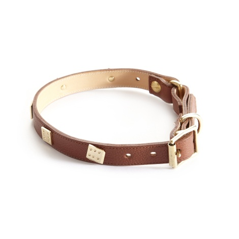 Woof Leather Dog Collar - Brown 2