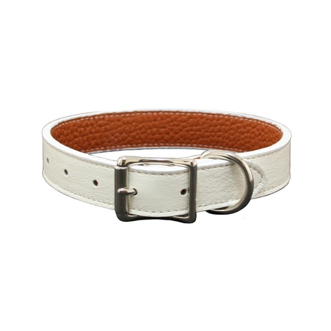 Tuscany Leather Dog Collar – White