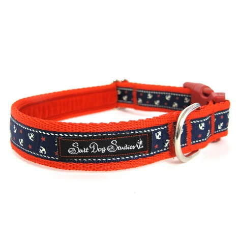 Little Sailors Navy on Red Dog Collar