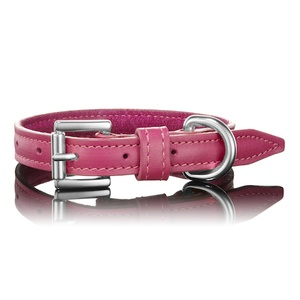 Dark Pink Leather Dog Collar