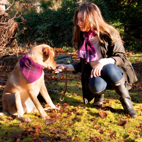 Check Harris Tweed Dog Bandana & Owner Scarf - Fuchsia 5